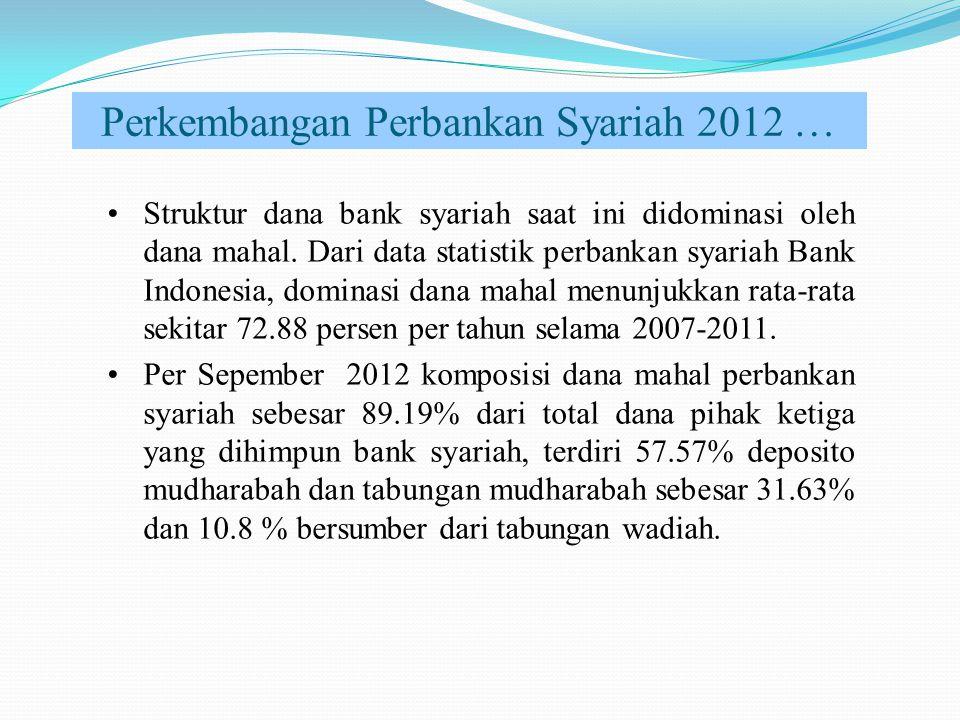 Perkembangan Perbankan Syariah 2012 … Struktur dana bank syariah saat ini didominasi oleh dana mahal. Dari data statistik perbankan syariah Bank Indon