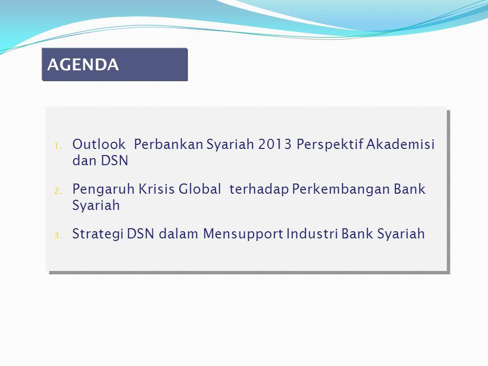 1. Outlook Perbankan Syariah 2013 Perspektif Akademisi dan DSN 2. Pengaruh Krisis Global terhadap Perkembangan Bank Syariah 3. Strategi DSN dalam Mens