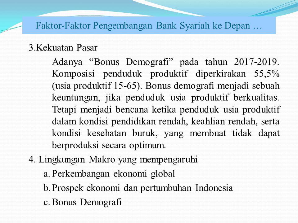"Faktor-Faktor Pengembangan Bank Syariah ke Depan … 3.Kekuatan Pasar Adanya ""Bonus Demografi"" pada tahun 2017-2019. Komposisi penduduk produktif diperk"