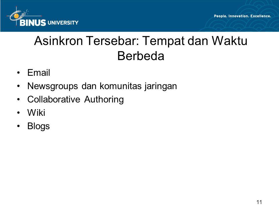 Asinkron Tersebar: Tempat dan Waktu Berbeda Email Newsgroups dan komunitas jaringan Collaborative Authoring Wiki Blogs 11