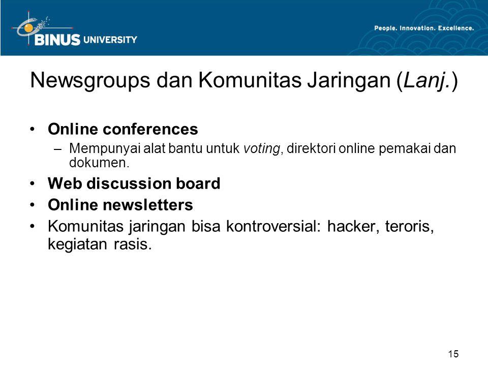 Newsgroups dan Komunitas Jaringan (Lanj.) Online conferences –Mempunyai alat bantu untuk voting, direktori online pemakai dan dokumen.