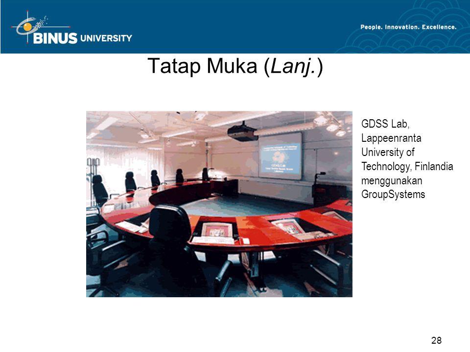 Tatap Muka (Lanj.) Tampilan GroupSystems dari Ventana Corp. 29