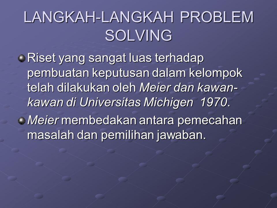 LANGKAH-LANGKAH PROBLEM SOLVING Riset yang sangat luas terhadap pembuatan keputusan dalam kelompok telah dilakukan oleh Meier dan kawan- kawan di Universitas Michigen 1970.
