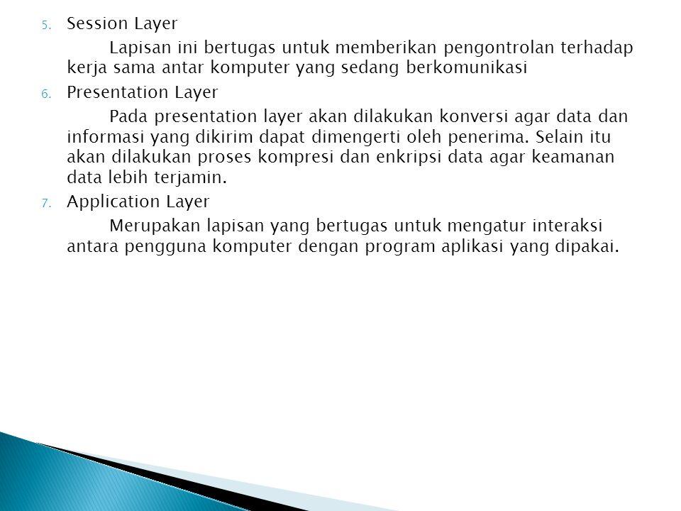 5. Session Layer Lapisan ini bertugas untuk memberikan pengontrolan terhadap kerja sama antar komputer yang sedang berkomunikasi 6. Presentation Layer