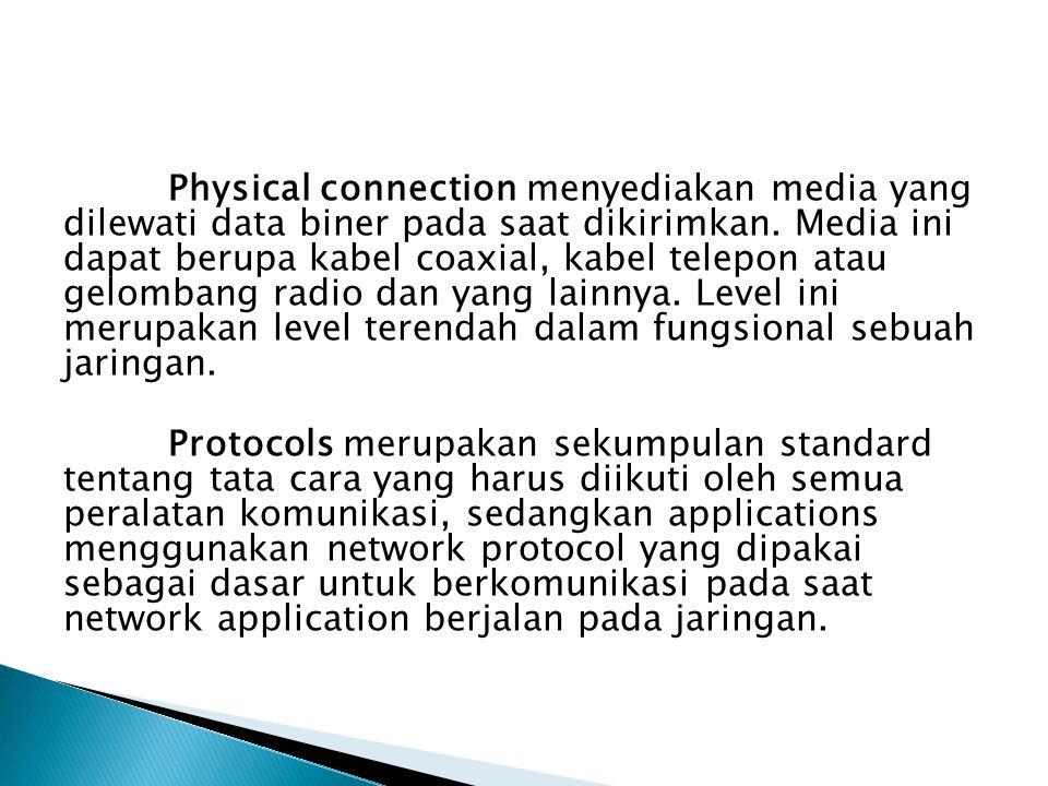 Physical connection menyediakan media yang dilewati data biner pada saat dikirimkan.