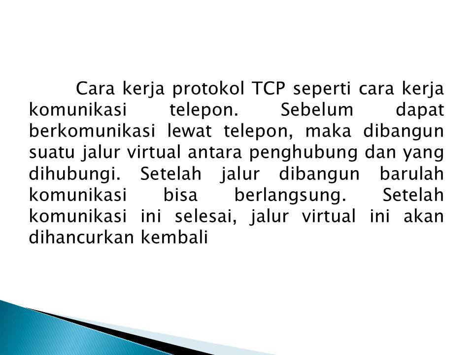 Cara kerja protokol TCP seperti cara kerja komunikasi telepon.