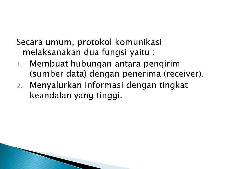Secara umum, protokol komunikasi melaksanakan dua fungsi yaitu : 1.