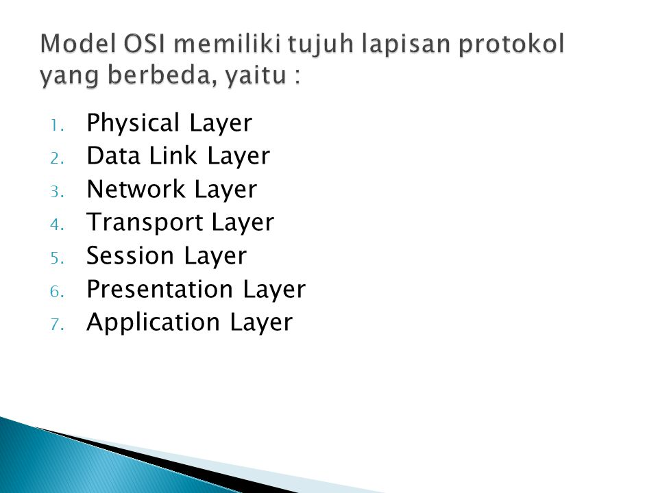 1. Physical Layer 2. Data Link Layer 3. Network Layer 4. Transport Layer 5. Session Layer 6. Presentation Layer 7. Application Layer