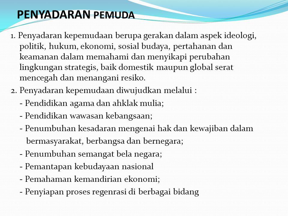 PENYADARAN PEMUDA 1. Penyadaran kepemudaan berupa gerakan dalam aspek ideologi, politik, hukum, ekonomi, sosial budaya, pertahanan dan keamanan dalam
