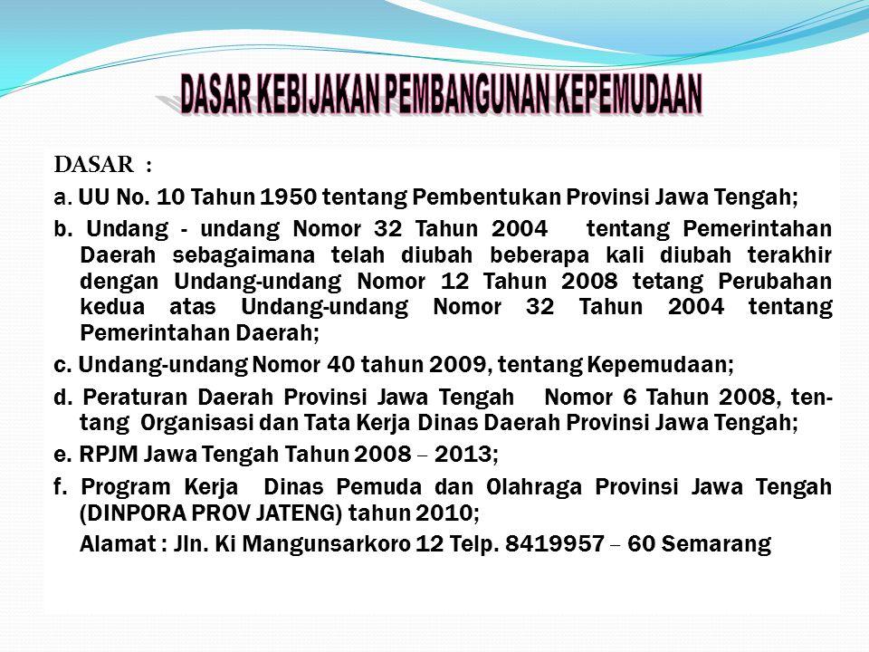 DASAR : a. UU No. 10 Tahun 1950 tentang Pembentukan Provinsi Jawa Tengah; b. Undang - undang Nomor 32 Tahun 2004 tentang Pemerintahan Daerah sebagaima