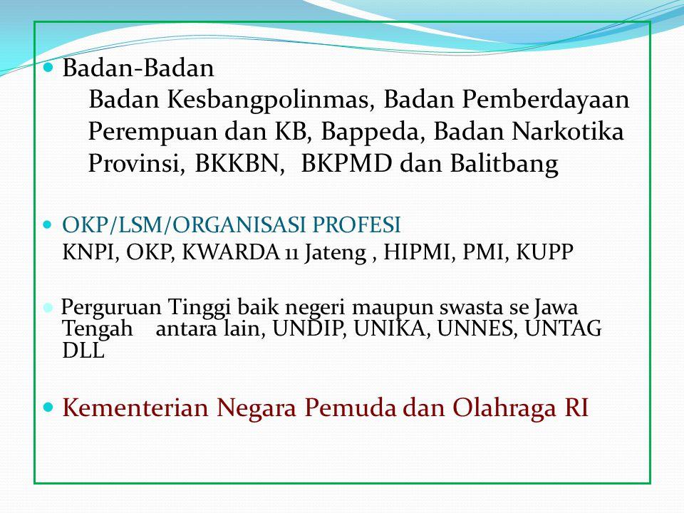Badan-Badan Badan Kesbangpolinmas, Badan Pemberdayaan Perempuan dan KB, Bappeda, Badan Narkotika Provinsi, BKKBN, BKPMD dan Balitbang OKP/LSM/ORGANISA