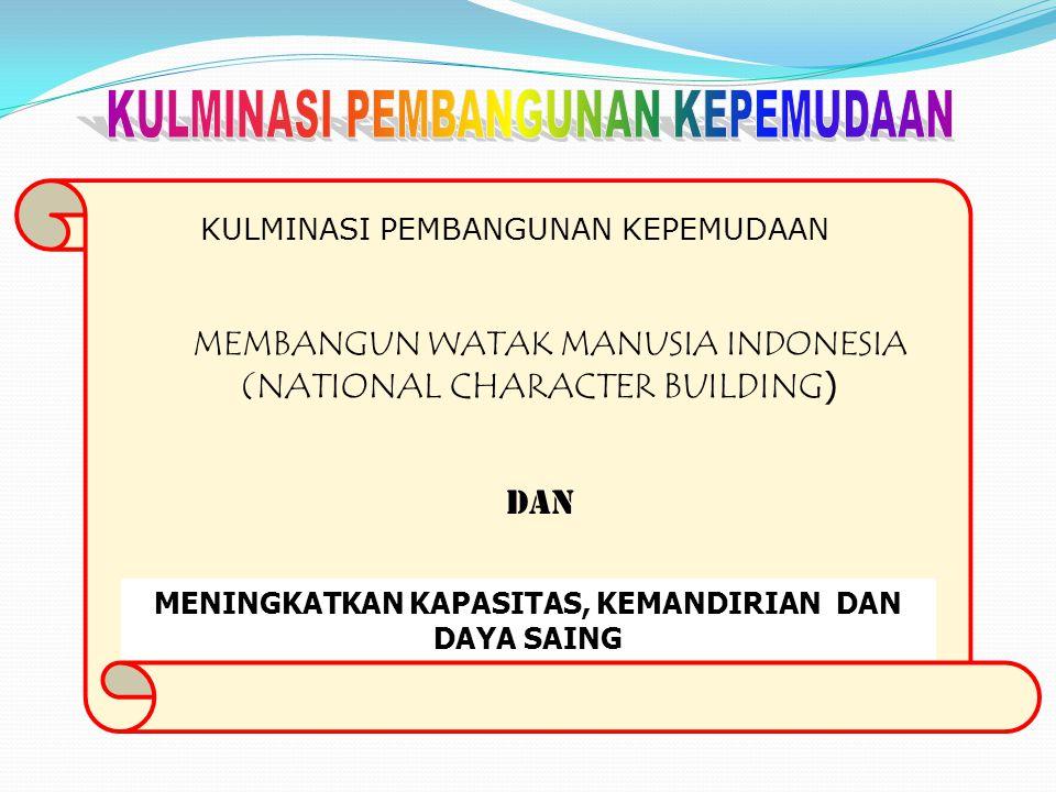 KULMINASI PEMBANGUNAN KEPEMUDAAN MEMBANGUN WATAK MANUSIA INDONESIA (NATIONAL CHARACTER BUILDING ) DAN MENINGKATKAN KAPASITAS, KEMANDIRIAN DAN DAYA SAI