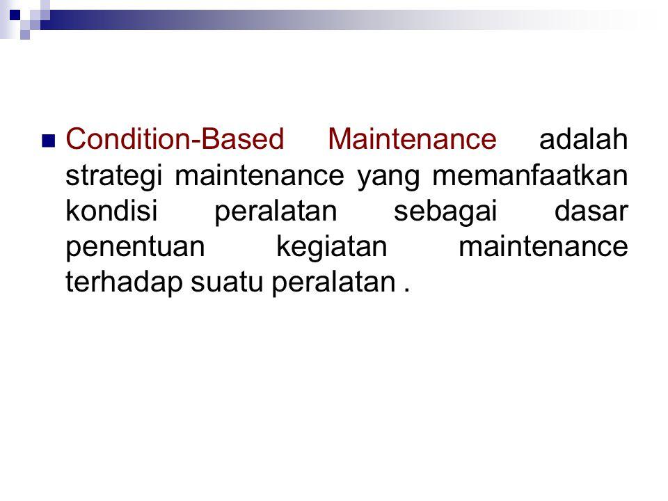 Condition-Based Maintenance adalah strategi maintenance yang memanfaatkan kondisi peralatan sebagai dasar penentuan kegiatan maintenance terhadap suatu peralatan.