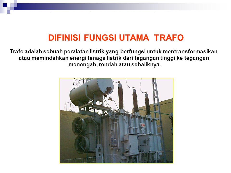 DIFINISI FUNGSI UTAMA TRAFO Trafo adalah sebuah peralatan listrik yang berfungsi untuk mentransformasikan atau memindahkan energi tenaga listrik dari tegangan tinggi ke tegangan menengah, rendah atau sebaliknya.