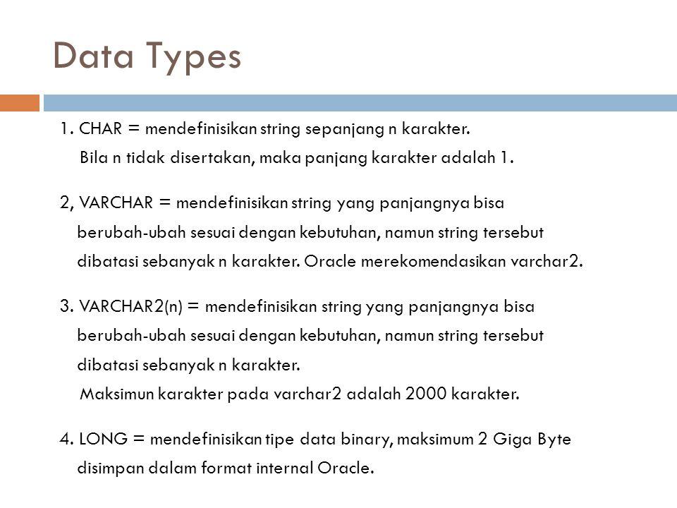 Data Types 1. CHAR = mendefinisikan string sepanjang n karakter. Bila n tidak disertakan, maka panjang karakter adalah 1. 2, VARCHAR = mendefinisikan
