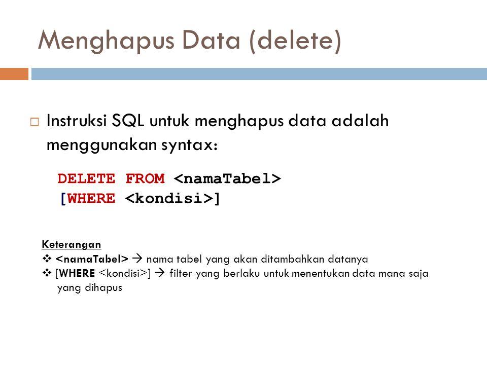 Menghapus Data (delete)  Instruksi SQL untuk menghapus data adalah menggunakan syntax: DELETE FROM [WHERE ] Keterangan   nama tabel yang akan ditam