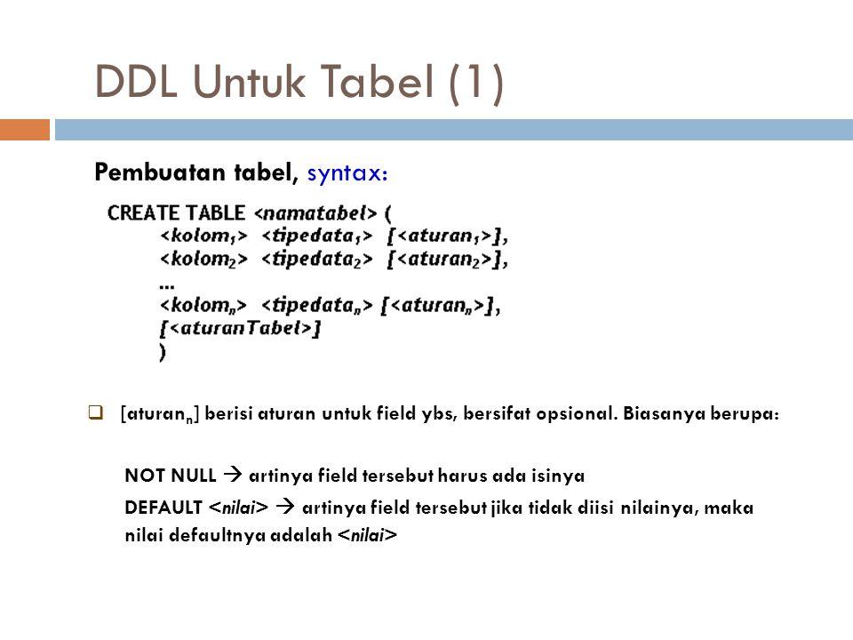 DDL Untuk Tabel (1) Pembuatan tabel, syntax:  [aturan n ] berisi aturan untuk field ybs, bersifat opsional. Biasanya berupa: NOT NULL  artinya field