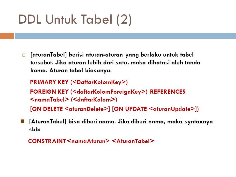 DDL Untuk Tabel (2)  [aturanTabel] berisi aturan-aturan yang berlaku untuk tabel tersebut. Jika aturan lebih dari satu, maka dibatasi oleh tanda koma