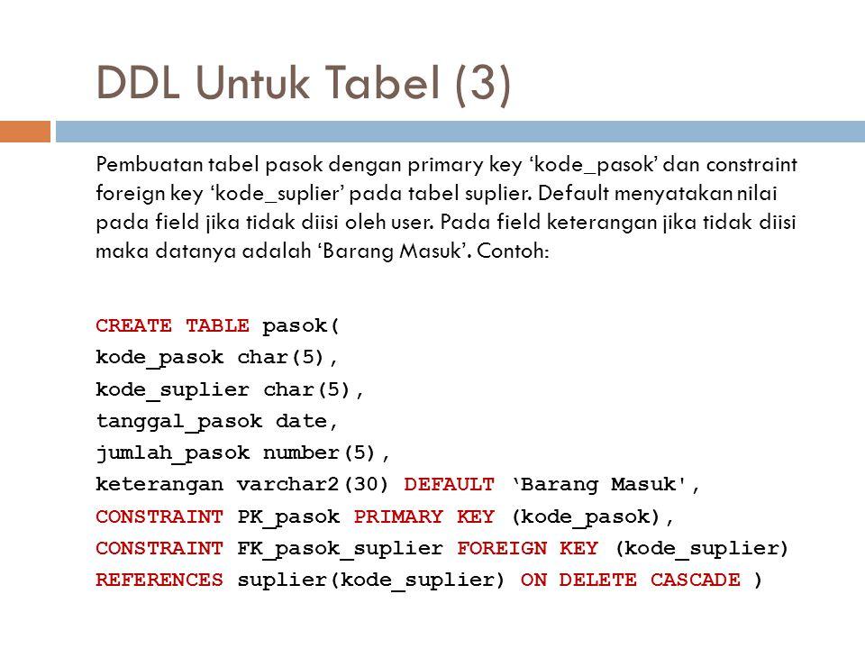 DDL Untuk Tabel (3) Pembuatan tabel pasok dengan primary key 'kode_pasok' dan constraint foreign key 'kode_suplier' pada tabel suplier. Default menyat