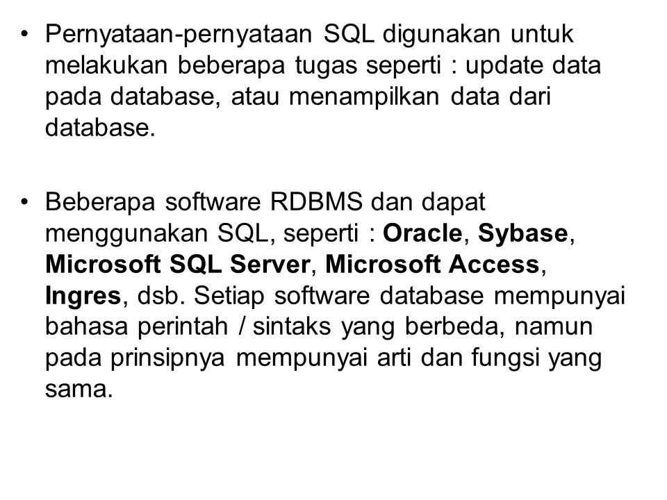 Pernyataan-pernyataan SQL digunakan untuk melakukan beberapa tugas seperti : update data pada database, atau menampilkan data dari database. Beberapa