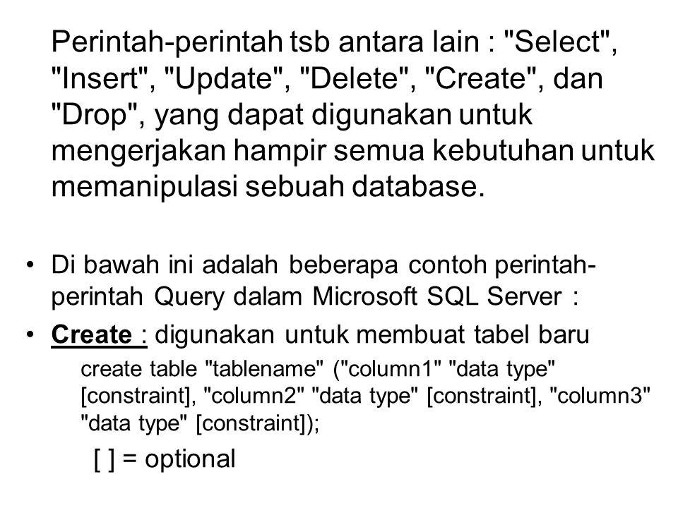 create table empinfo (Id varchar (5), first_name varchar(15), last_name varchar(20), address varchar(30), city varchar(20), state varchar(20)); hasil dari perintah di atas : IdFirst_nameLast_nameaddresscitystate