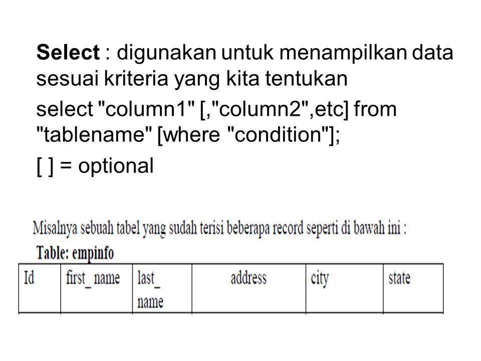 Select : digunakan untuk menampilkan data sesuai kriteria yang kita tentukan select