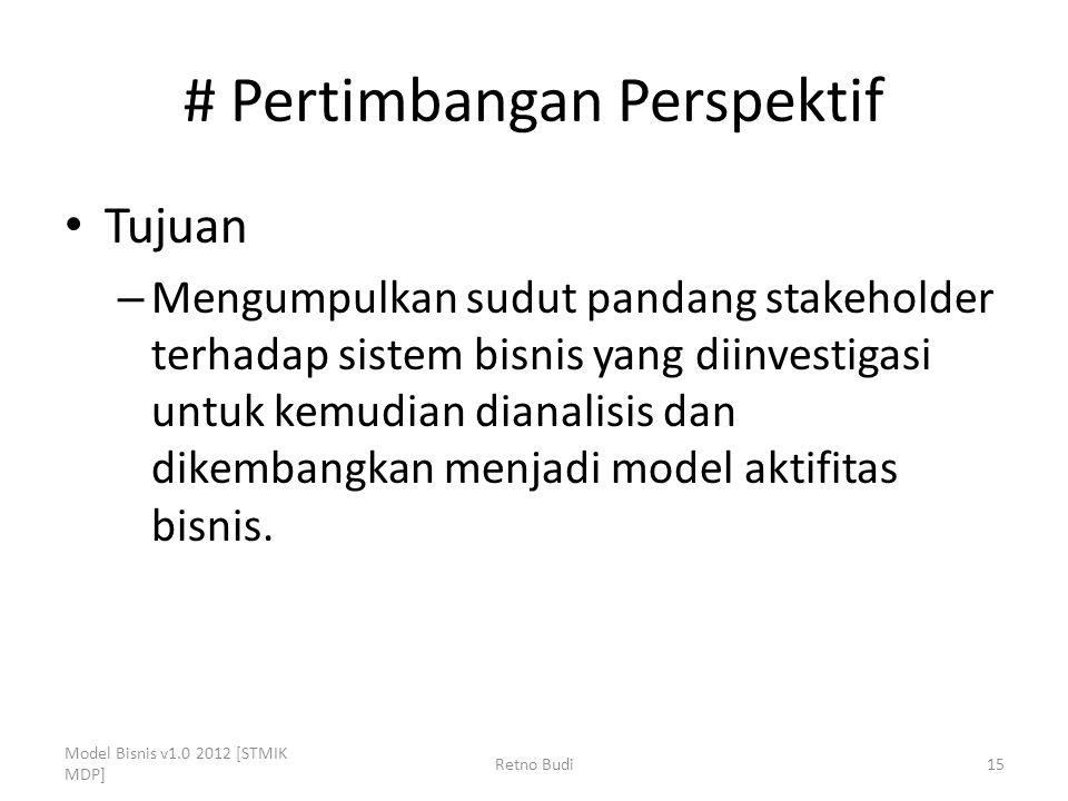 # Pertimbangan Perspektif Tujuan – Mengumpulkan sudut pandang stakeholder terhadap sistem bisnis yang diinvestigasi untuk kemudian dianalisis dan dike
