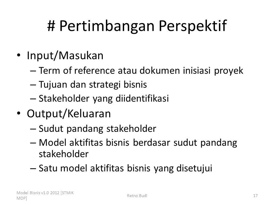 # Pertimbangan Perspektif Input/Masukan – Term of reference atau dokumen inisiasi proyek – Tujuan dan strategi bisnis – Stakeholder yang diidentifikas
