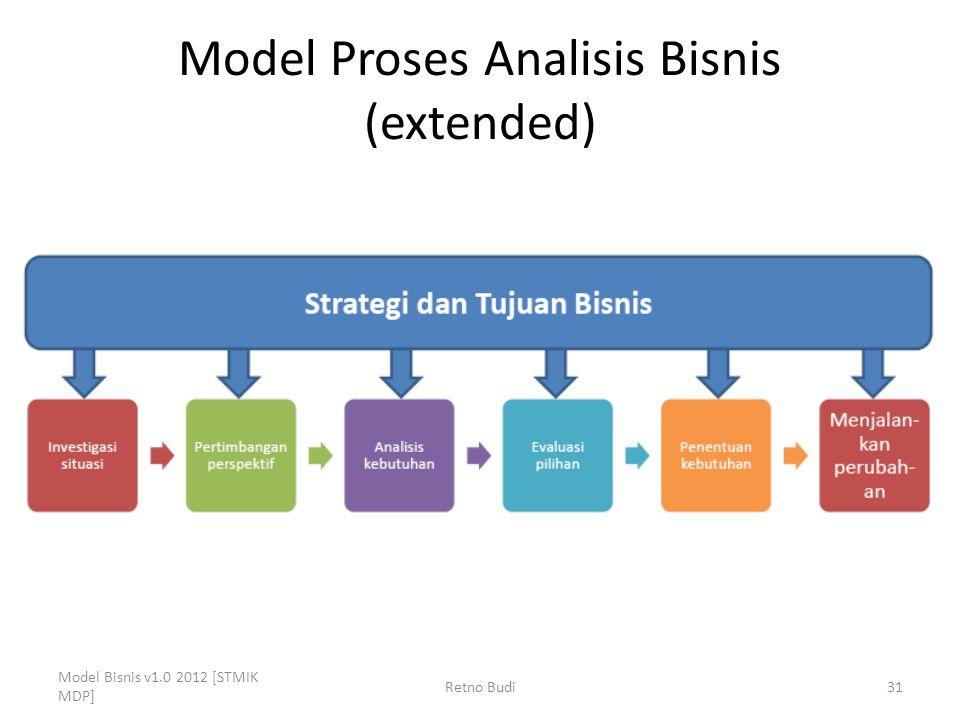 Model Proses Analisis Bisnis (extended) Model Bisnis v1.0 2012 [STMIK MDP] Retno Budi31