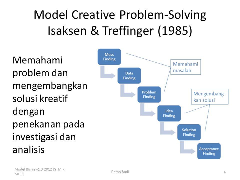 Model Creative Problem-Solving Isaksen & Treffinger (1985) Model Bisnis v1.0 2012 [STMIK MDP] Retno Budi4 Memahami problem dan mengembangkan solusi kreatif dengan penekanan pada investigasi dan analisis