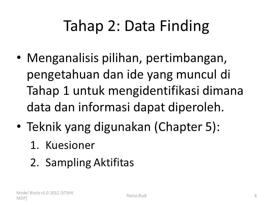 Tahap 2: Data Finding Menganalisis pilihan, pertimbangan, pengetahuan dan ide yang muncul di Tahap 1 untuk mengidentifikasi dimana data dan informasi dapat diperoleh.