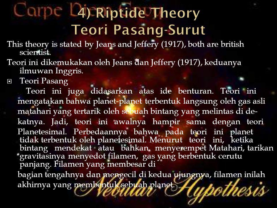 This theory is stated by Jeans and Jeffery (1917), both are british scientist. Teori ini dikemukakan oleh Jeans dan Jeffery (1917), keduanya ilmuwan I