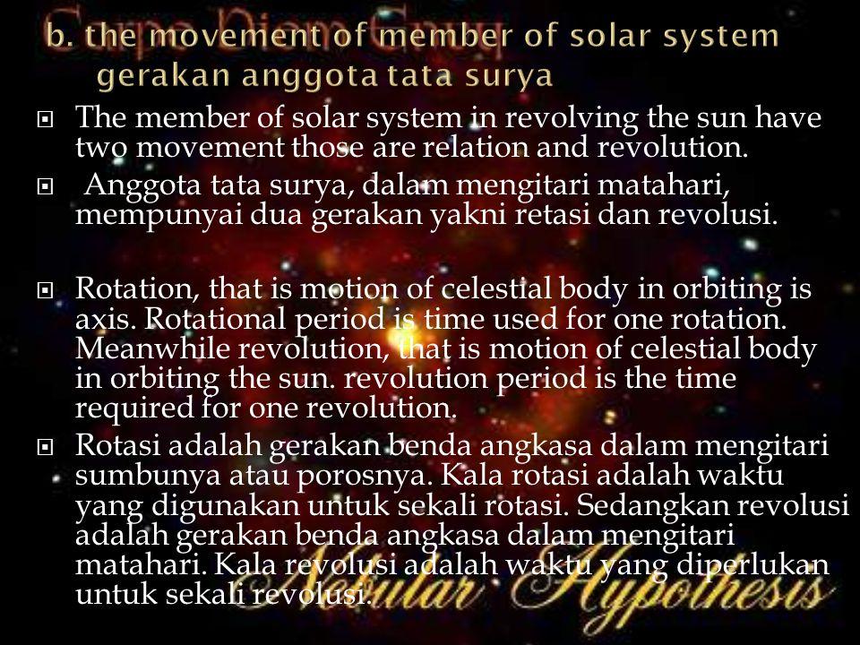 The member of solar system in revolving the sun have two movement those are relation and revolution.  Anggota tata surya, dalam mengitari matahari,