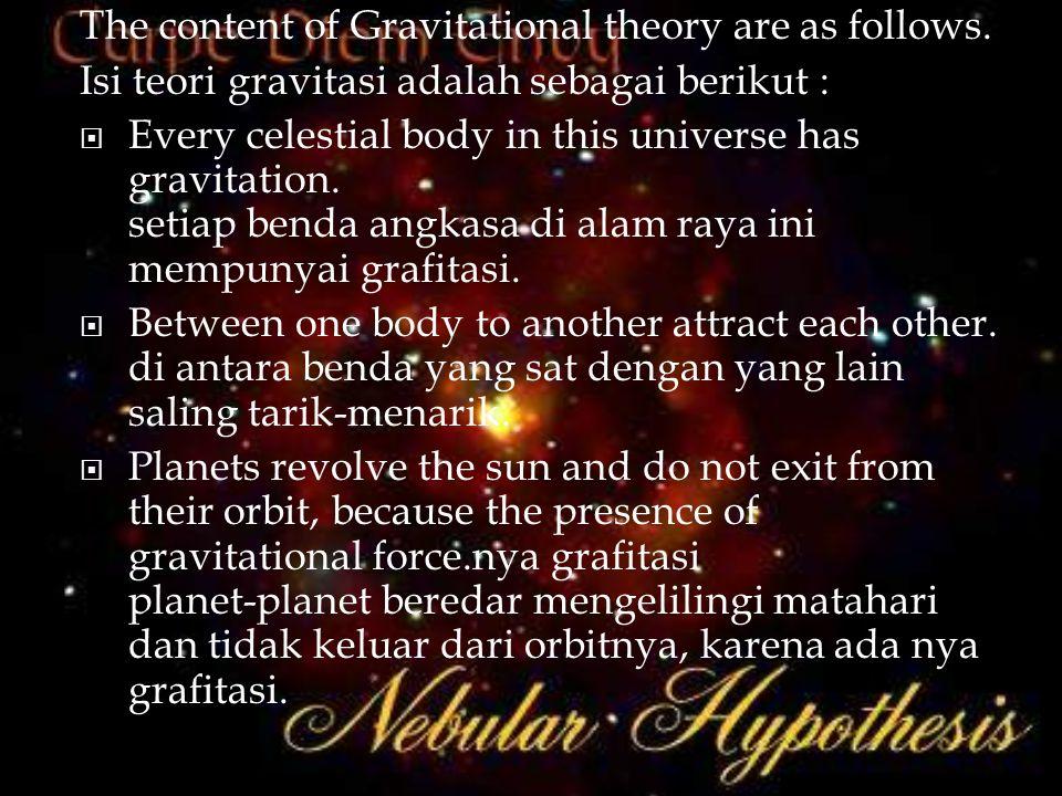 The content of Gravitational theory are as follows. Isi teori gravitasi adalah sebagai berikut :  Every celestial body in this universe has gravitati