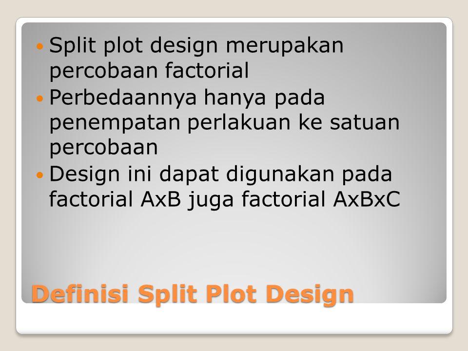 Definisi Split Plot Design Split plot design merupakan percobaan factorial Perbedaannya hanya pada penempatan perlakuan ke satuan percobaan Design ini