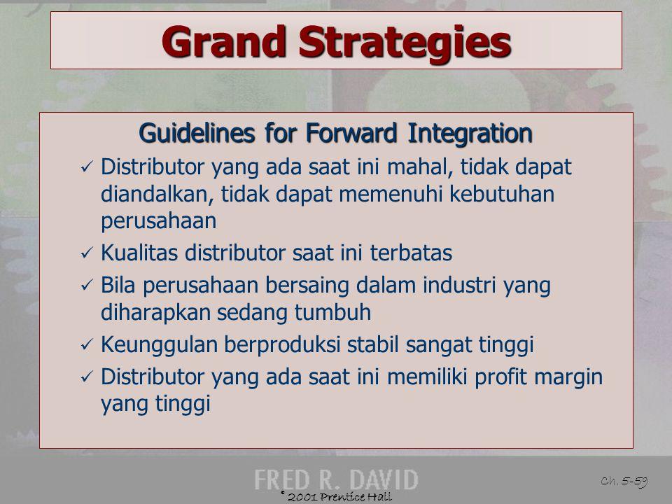 © 2001 Prentice Hall Ch. 5-58 Grand Strategies Defined Memperoleh kepemilikan atau meningkatkan kendali atas distributor atau dealer Example General M