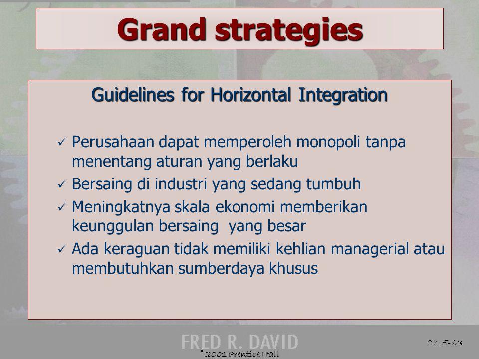 © 2001 Prentice Hall Ch. 5-62 Grand Strategies Defined Mendapatkan kepemilikan atau mengambil alih perusahaan pesaing Example Hotel Hilton membeli Hot