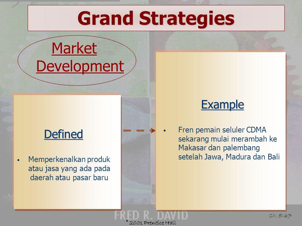 © 2001 Prentice Hall Ch. 5-66 Grand Strategies Guidelines for Market Penetration Pasar yang ada belum jenuh Tingkat penggunaan pelanggan yang ada dapa