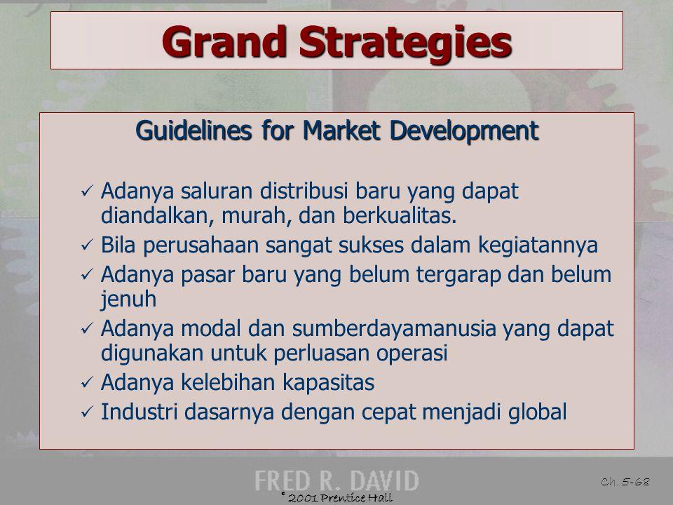 © 2001 Prentice Hall Ch. 5-67 Grand Strategies Defined Memperkenalkan produk atau jasa yang ada pada daerah atau pasar baru Example Fren pemain selule