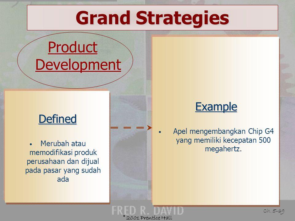 © 2001 Prentice Hall Ch. 5-68 Grand Strategies Guidelines for Market Development Adanya saluran distribusi baru yang dapat diandalkan, murah, dan berk