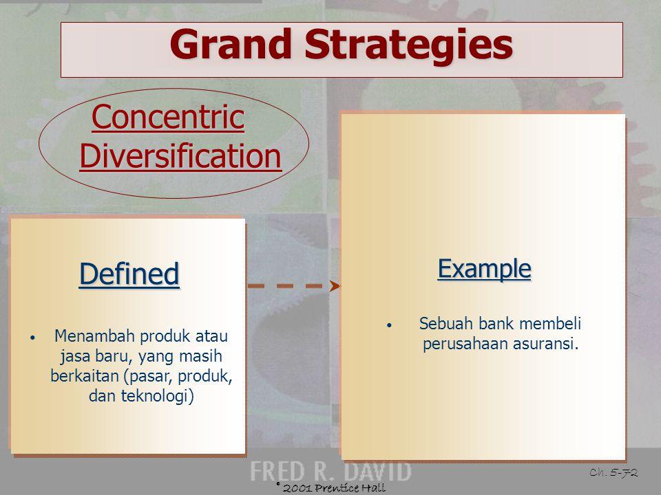 © 2001 Prentice Hall Ch. 5-71 Grand Strategies Diversification Strategies Concentric diversification Conglomerate diversification
