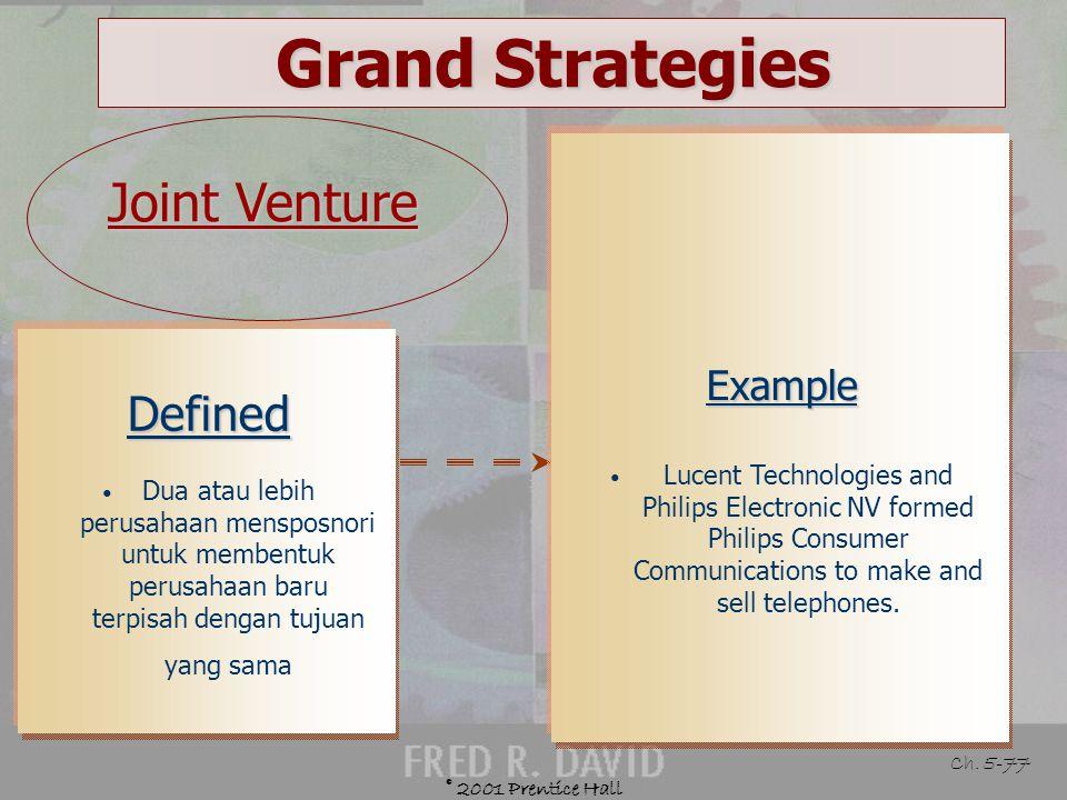 © 2001 Prentice Hall Ch. 5-76 Grand Strategies Defensive Strategies Joint venture Retrenchment Divestiture Liquidation