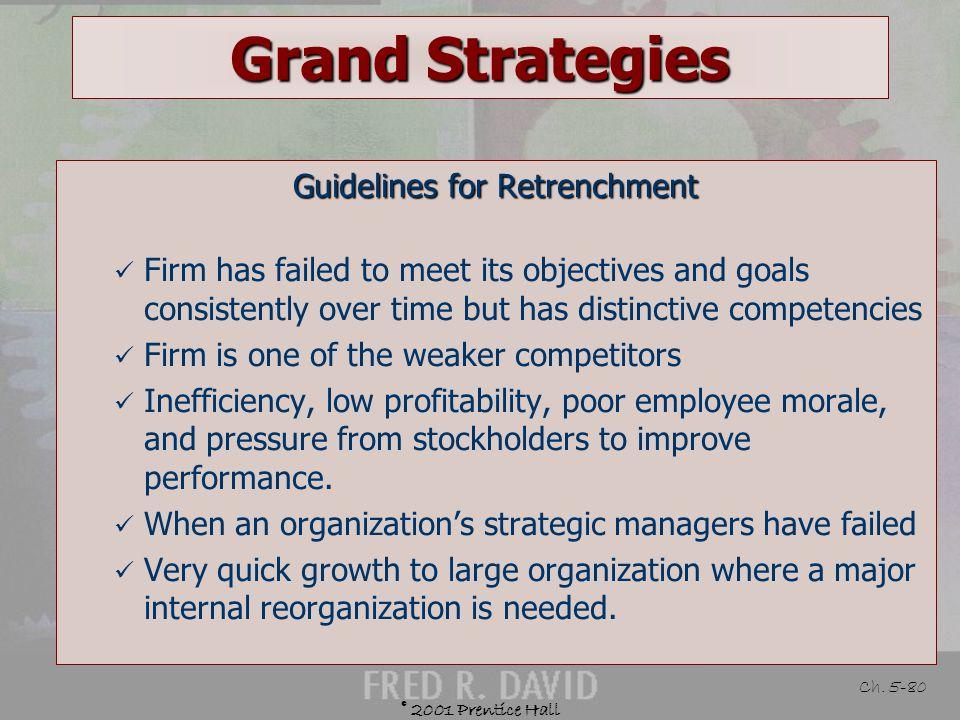 © 2001 Prentice Hall Ch. 5-79 Grand Strategies Defined Mengubah pengelompokan melalui pengurangan biaya dan aset untuk memperbaiki penjualan dan laba