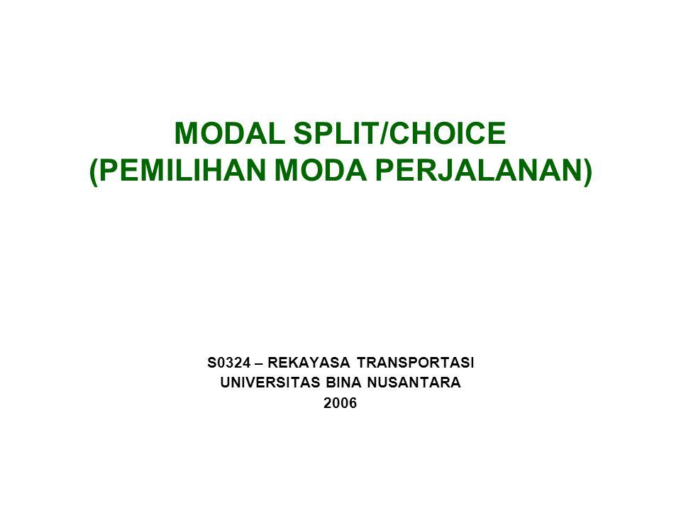 MODAL SPLIT/CHOICE (PEMILIHAN MODA PERJALANAN) S0324 – REKAYASA TRANSPORTASI UNIVERSITAS BINA NUSANTARA 2006