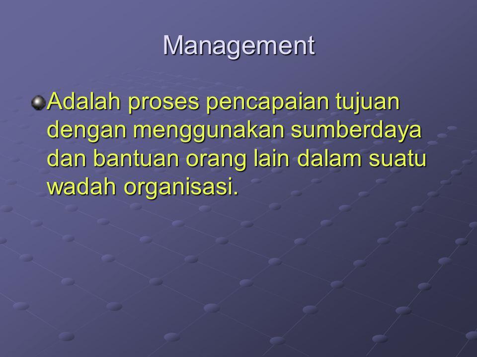 Management Adalah proses pencapaian tujuan dengan menggunakan sumberdaya dan bantuan orang lain dalam suatu wadah organisasi.