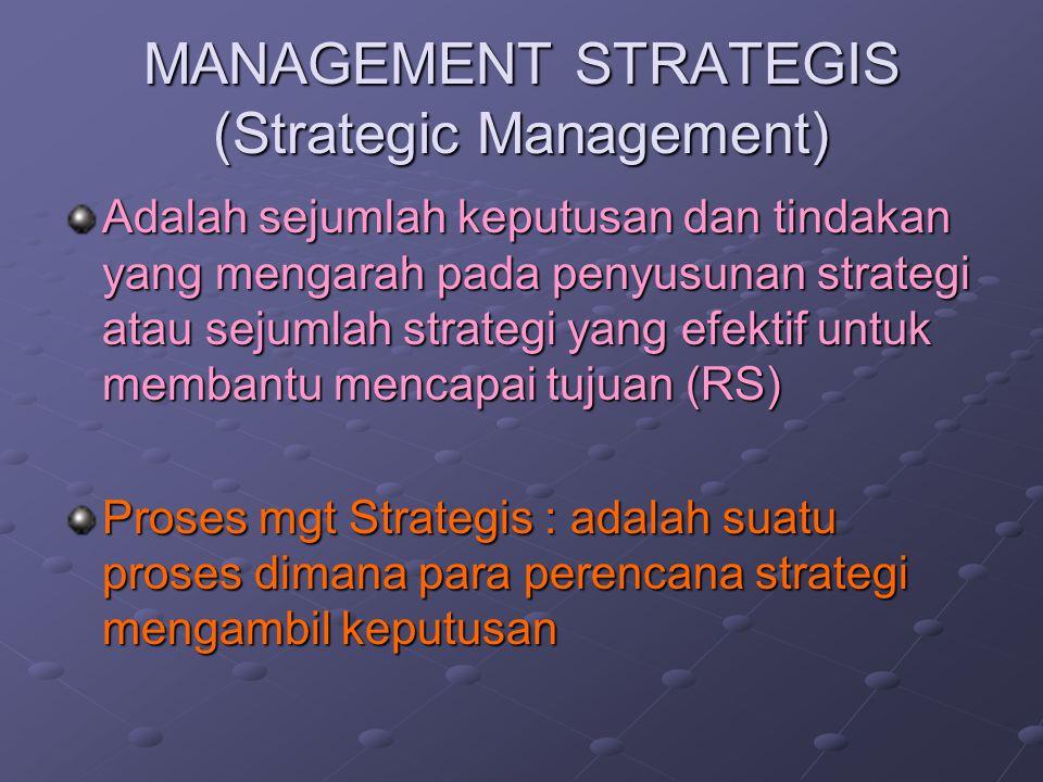 MANAGEMENT STRATEGIS (Strategic Management) Adalah sejumlah keputusan dan tindakan yang mengarah pada penyusunan strategi atau sejumlah strategi yang efektif untuk membantu mencapai tujuan (RS) Proses mgt Strategis : adalah suatu proses dimana para perencana strategi mengambil keputusan