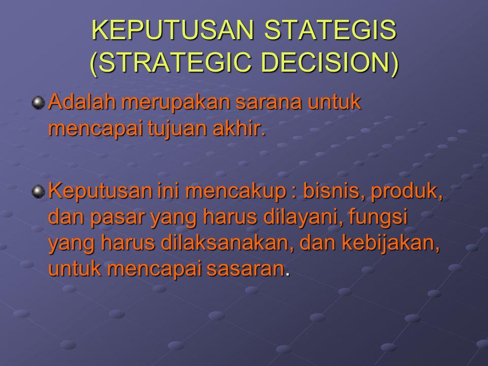 KEPUTUSAN STATEGIS (STRATEGIC DECISION) Adalah merupakan sarana untuk mencapai tujuan akhir. Keputusan ini mencakup : bisnis, produk, dan pasar yang h