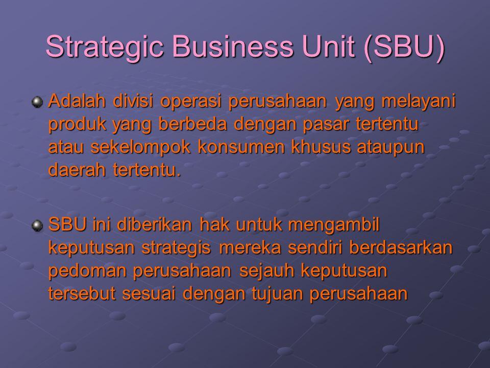 Strategic Business Unit (SBU) Adalah divisi operasi perusahaan yang melayani produk yang berbeda dengan pasar tertentu atau sekelompok konsumen khusus ataupun daerah tertentu.