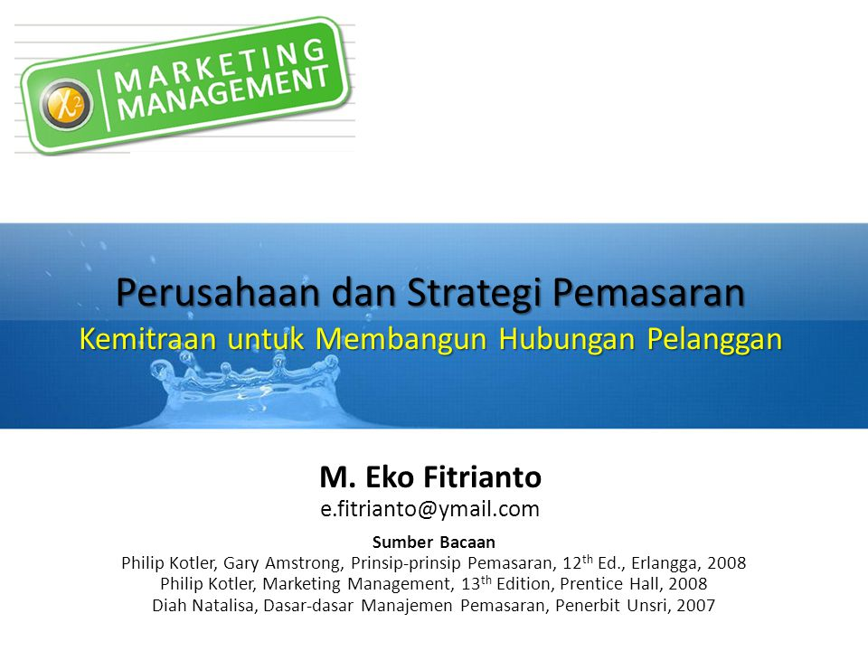 Peta Pembelajaran Strategic Marketing Plan Marketing Plan (1) Definition (3) Marketing Decision 1.
