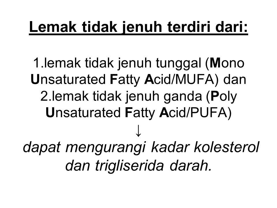 Lemak tidak jenuh terdiri dari: 1.lemak tidak jenuh tunggal (Mono Unsaturated Fatty Acid/MUFA) dan 2.lemak tidak jenuh ganda (Poly Unsaturated Fatty A